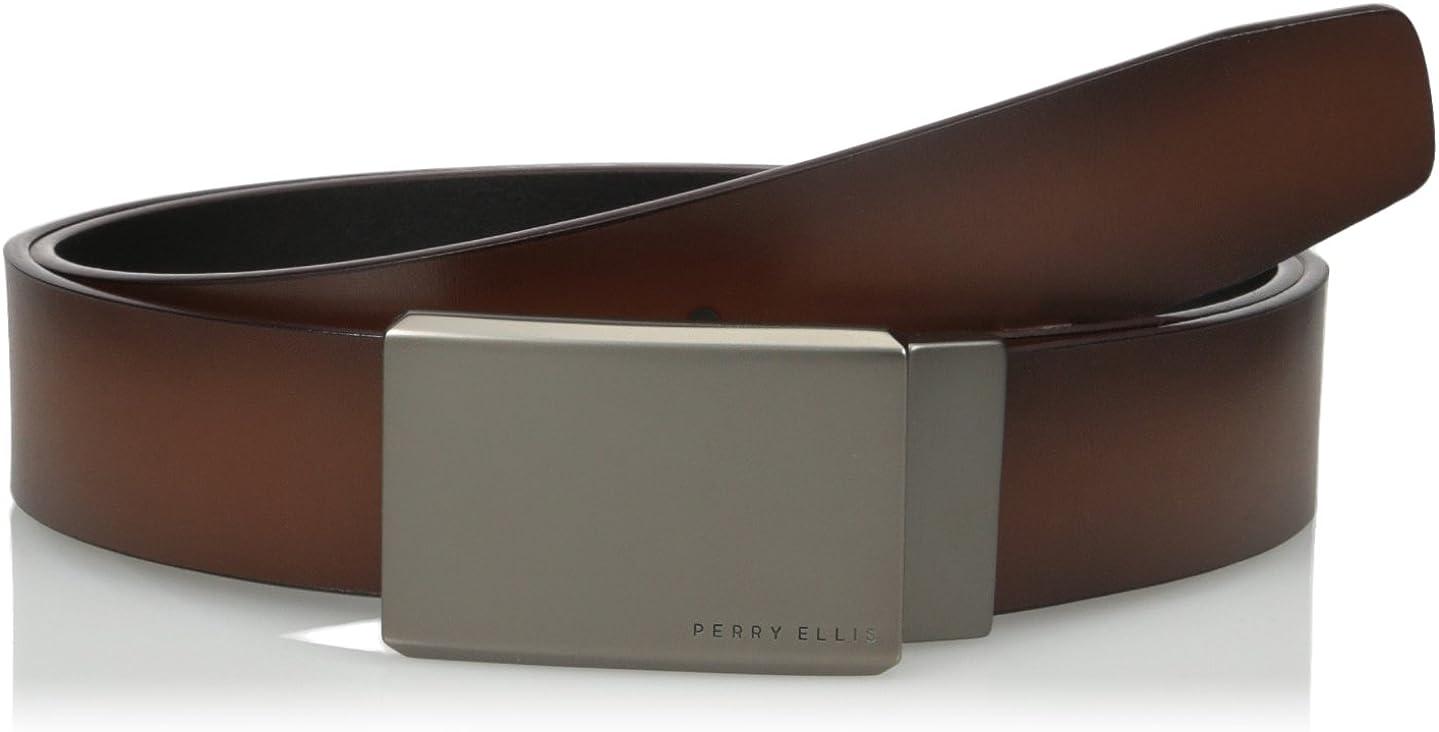 Perry Ellis Portfolio Men's Reversible Matte Gunmetal Plaque Belt