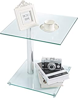 Rfiver Square Clear Coffee Table Small Side Table End Table Corner Table for Living Room Bedroom Office Tempered Glass, ET7001