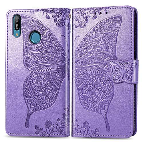 HMTECH Huawei Y6 2019 Hülle,Huawei Y6 2019 Handyhülle Prägung Schmetterling Blumen Flip Case PU Leder Magnet Schutzhülle Handytasche für Huawei Y6 2019,SD Butterfly Light Purple