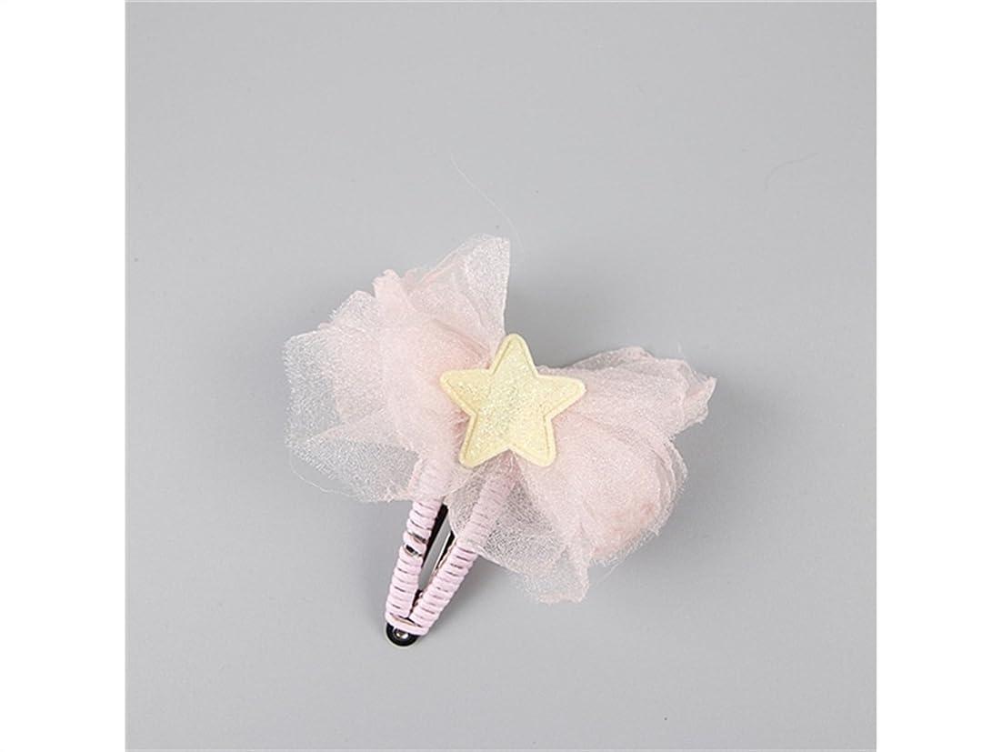 おかしいシーサイド非常に怒っていますOsize 美しいスタイル 子供の五芒星スター蝶ヘアピンベビーレースガーゼBBクリップ(ピンク)