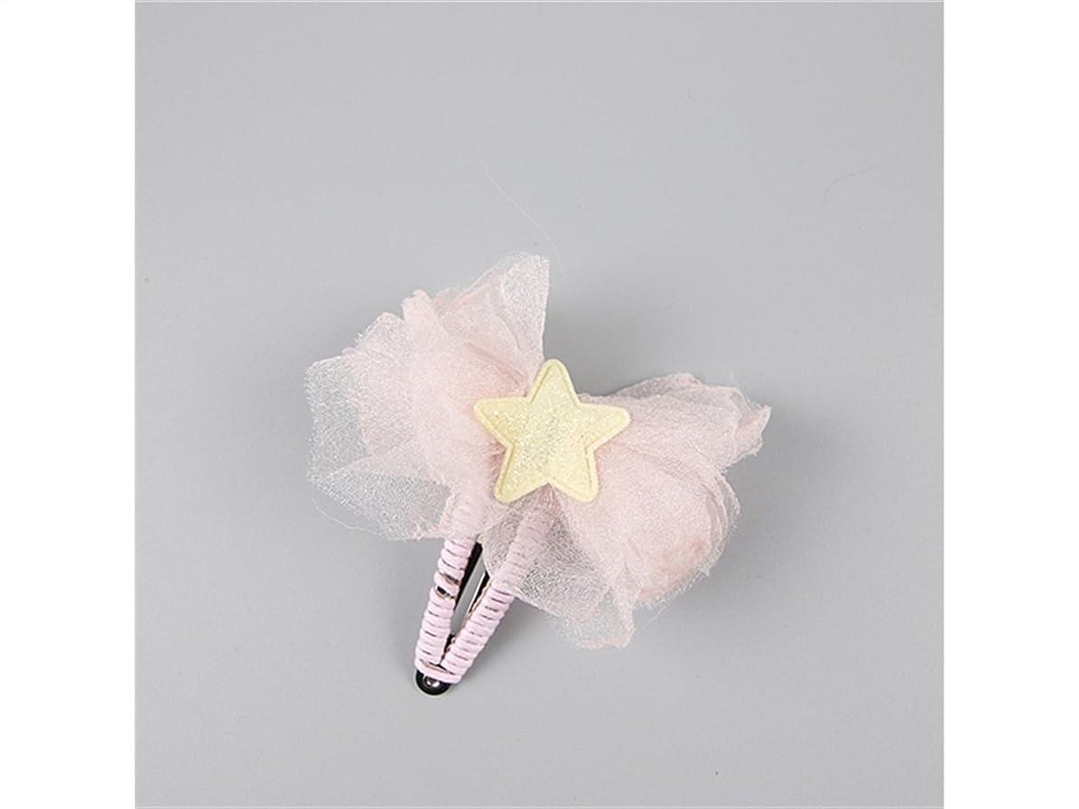 受け入れた匹敵します実行Osize 美しいスタイル 子供の五芒星スター蝶ヘアピンベビーレースガーゼBBクリップ(ピンク)