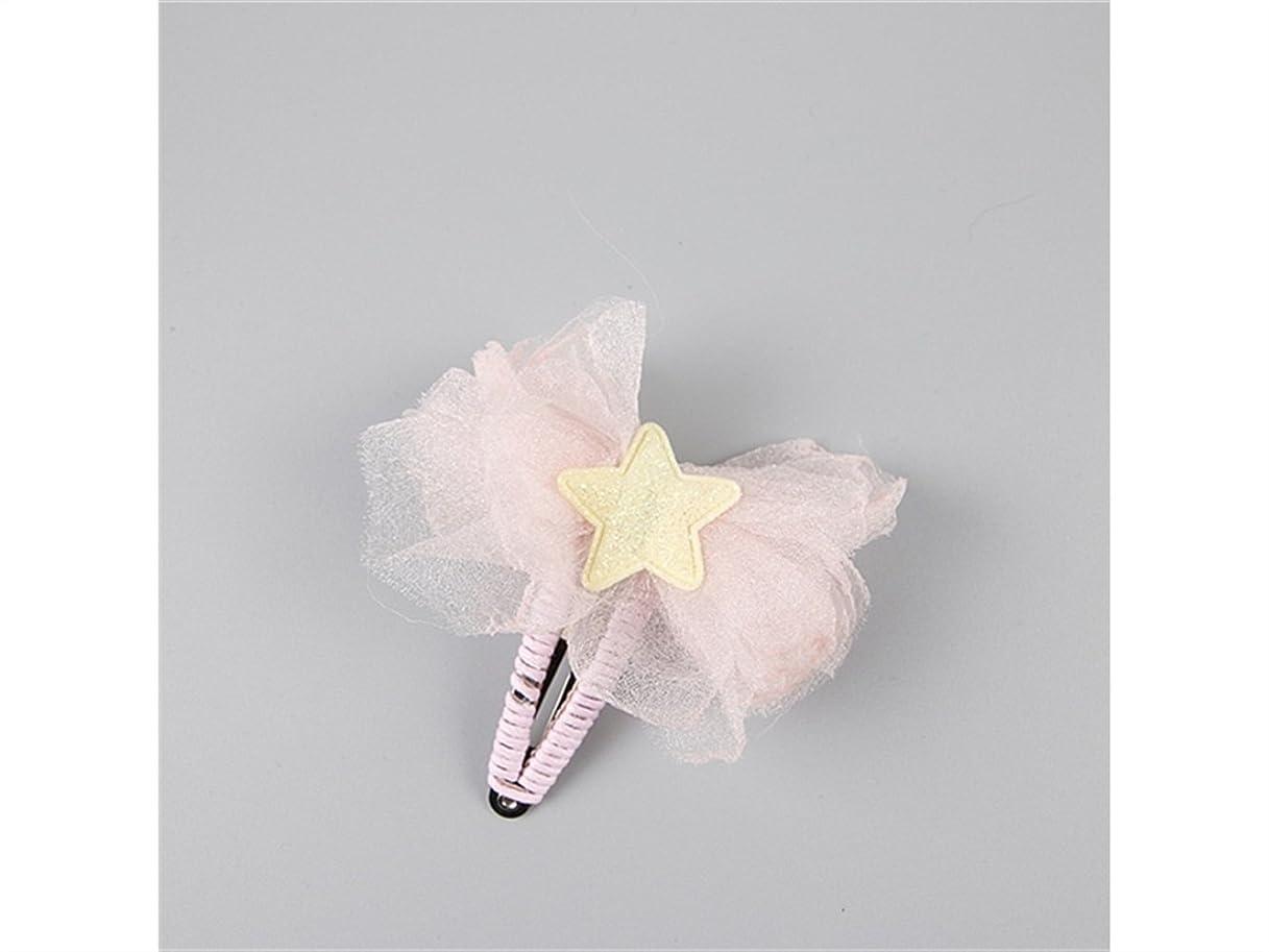 日常的にボタンブラストOsize 美しいスタイル 子供の五芒星スター蝶ヘアピンベビーレースガーゼBBクリップ(ピンク)