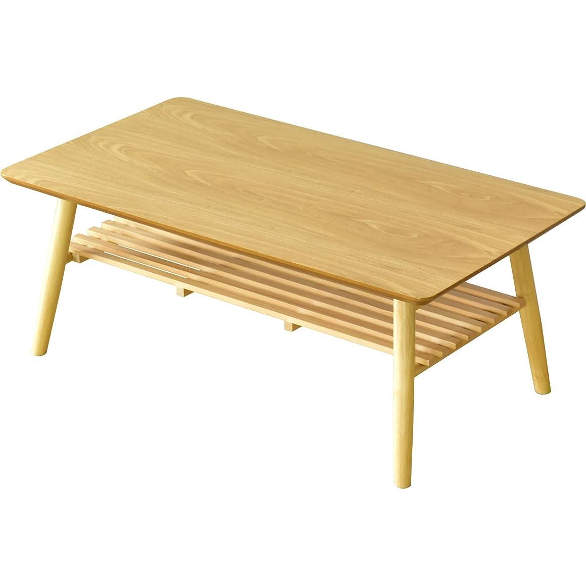 が欲しいストライク実現可能性DORIS ローテーブル 折りたたみ ちゃぶ台 木製 幅90×奥行50cm ナチュラル スィエル棚付き