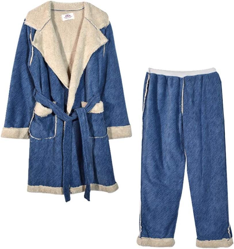 ZSQAW Winter Bath Robe Bathrobe Hooded Pocket Bandage Homewear Nightwear Bathrobe Pajamas Kimono (Color : Men's, Size : X-Large)