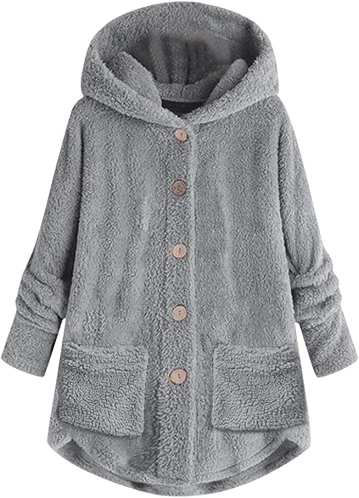 Fashion Hoodies for Women Fleece Furry Womens Hooded Sweatshirt Button Hoodie Pullover Sherpa Sweater Coat with Pockets