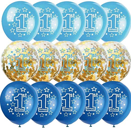 First Birthday Balloons Decorations Kit, 12 inch Pack of 15   Gold Confetti 1st Balloons, Blue Sky Blue 1st Balloons with Shiny Silvery Swirl Ribbon, for Baby Boy Girl 1st Birthday Party Decor
