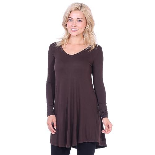 37477b42a0e13 Popana Women s Tunic Tops for Leggings Long Sleeve Shirt Plus Size Made in  USA