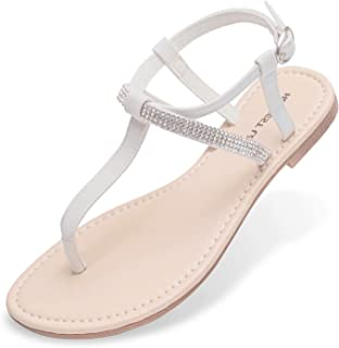 Women's Flat Sandals Fashion Rhinestone T Strap Thong with Ankle Strap Summers Sandals for Women Size 5-12