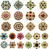 MEEJOA Lot 24pc Mixed Color Rhinestone Crystal Flower Brooches Pins