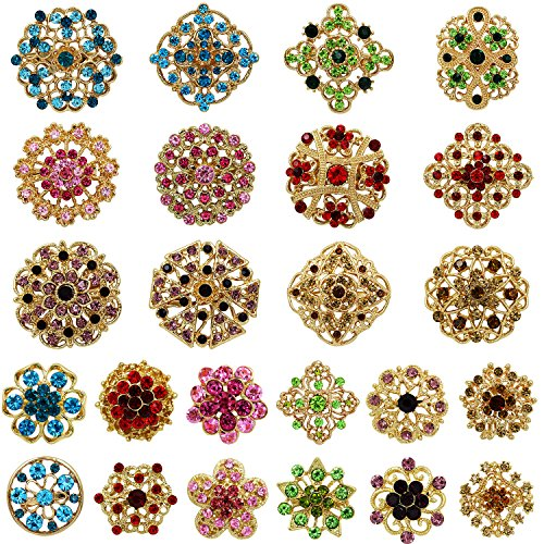 WeimanJewelry Gold Plated 24pcs Crystal Rhinestones Brooch Pins for DIY Wedding Bouquets Kit (multicolor)