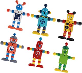 MagiDeal Wooden Walnut Puppets Robots Action Figure Toys Flexible Joints Poseable for Baby Children Kids White