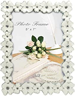 L&T Metal Picture Frame Silver Plated with Cream White Enamel and crystals, Floral Style 5 x 7 Inch