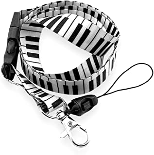 Black and White Piano/Organ Keyboard Pattern Fabric Lanyard
