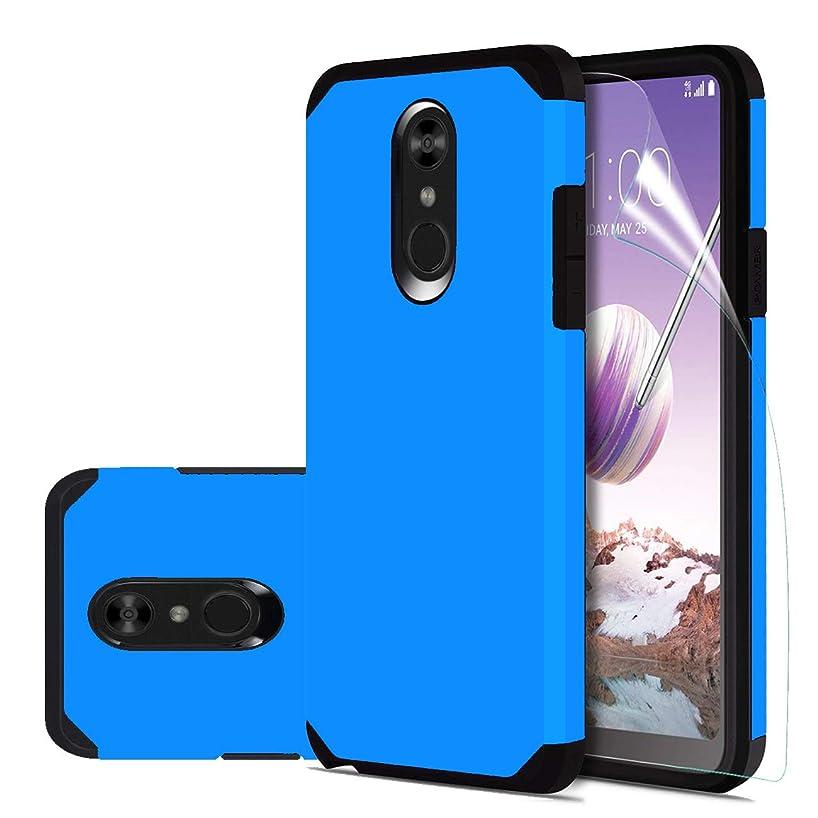 LG Stylo 4 Case,LG Q Stylus/LG Q Stylus Plus/LG Stylus 4/LG Stylus 4 Plus Case with HD Screen Protector,Slinco Dual Layer Hybrid Shock Proof Protective Rugged Phone Case for LG Stylo 4 (Blue)