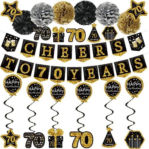 70 Geburtstag deko mann frau - (21pack) cheers to 70 years schwarz gold glitzer Banner, 6 Seidenpapier Pompons, 6 Stück Spiral Girlanden, 7 Deko aufkleber. 70 geburtstag geschenk