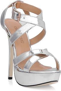 21e13d811ca CHMILE Chau-Zapatos para Mujer-Sandalias de Tacon Alto de Aguja-Talón  Delgado
