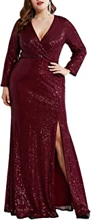 Ever-Pretty Women's Long Sleeve Plus Size Sequin Gowns Side Split Evening Dress 0824