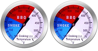 NEWSTART BBQ Thermometer Gauge - Charcoal Grill Pit Smoker Temp Gauge Grill Thermomete, Stainless Steel, 2 Pack