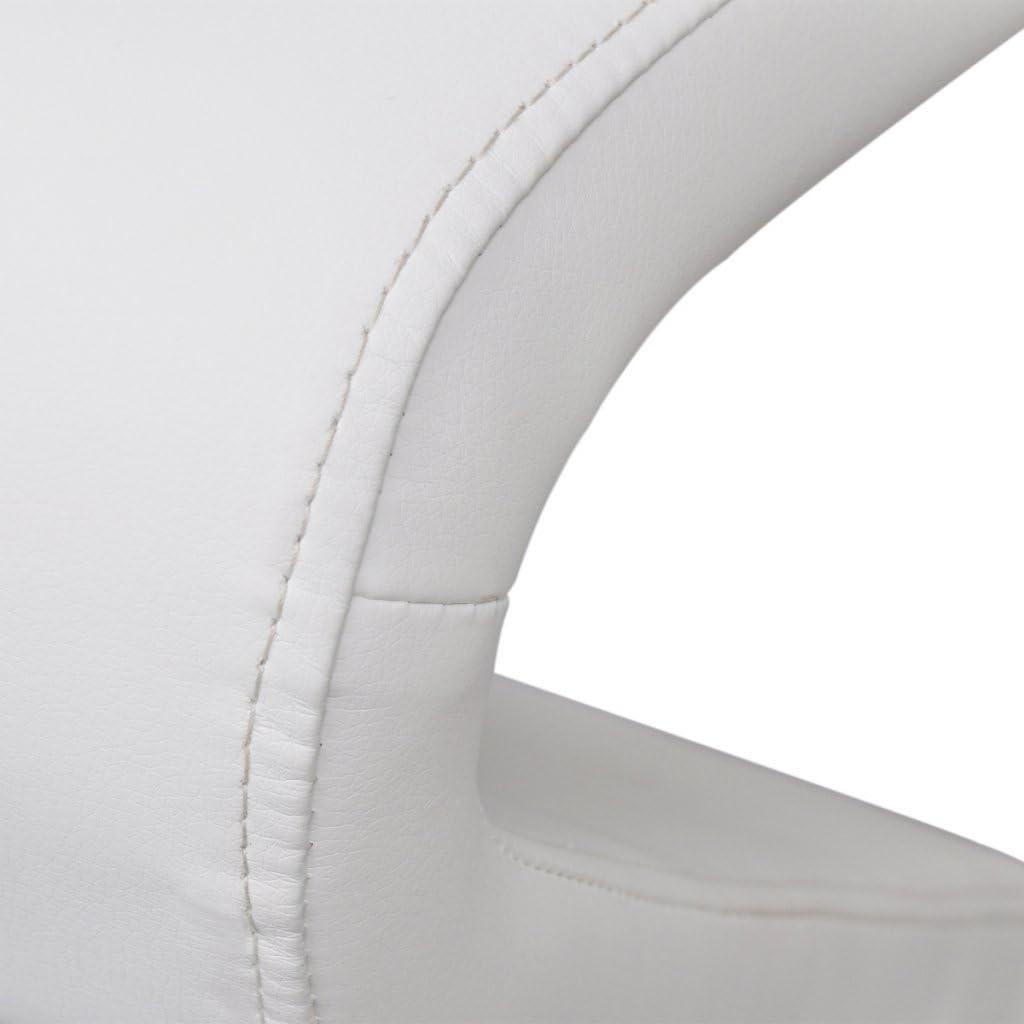 Festnight 2pcs Chaises pour Salle à Manger en Cuir Artificiel Noir 58 x 66 x 99cm Type B Blanc