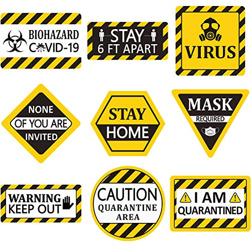 Blulu 9 Pieces Quarantine Party Decorations Yellow Quarantine Theme Birthday Party Signs Cutouts Wall Decor with 40 Glue Point Dots for Quarantine Birthday Supplies