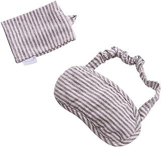 Remeehi Sleep Mask Natural Cotton Stripe Eye Mask Super Soft Skin-Friendly Sleeping Eye Cover Blindfold for Bedtime Travel Flight Office Nap Eyepatch Gray White