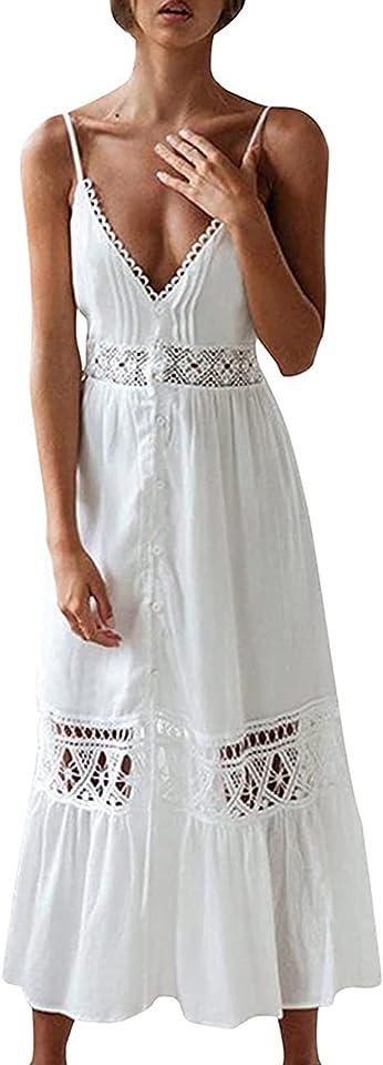 Sommerkleid Damen Lang Maxikleid, Lässiges Ärmellose Neckholder Strap Sexy Strandkleid Elegant weißes Party Kleider