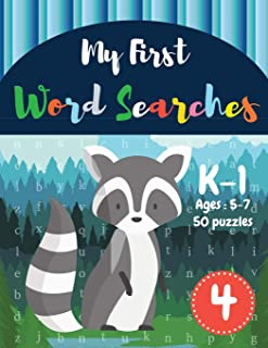 My First Word Searches: 50 Large Print Word Search Puzzles : Wordsearch kids activity workbooks   K-1   Ages 5-7 Raccoon Design (Vol.4) (Kids word search books)