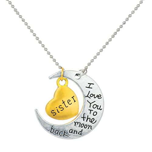 Yellow Chimes Sisters Love Special Moon Pendant in Metal for Girls and Women for Sister!