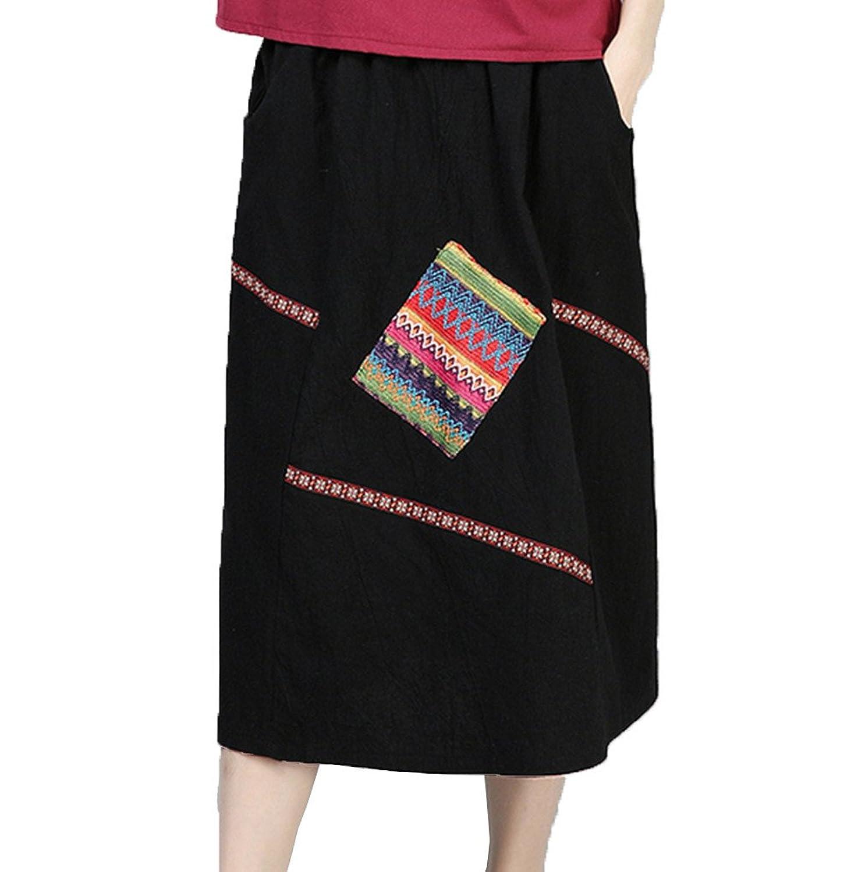 [美しいです]ロングスカートスカートスカートの夏の女性の新しい中国の民俗スタイルのアートの綿とリネンのレトロパッチ