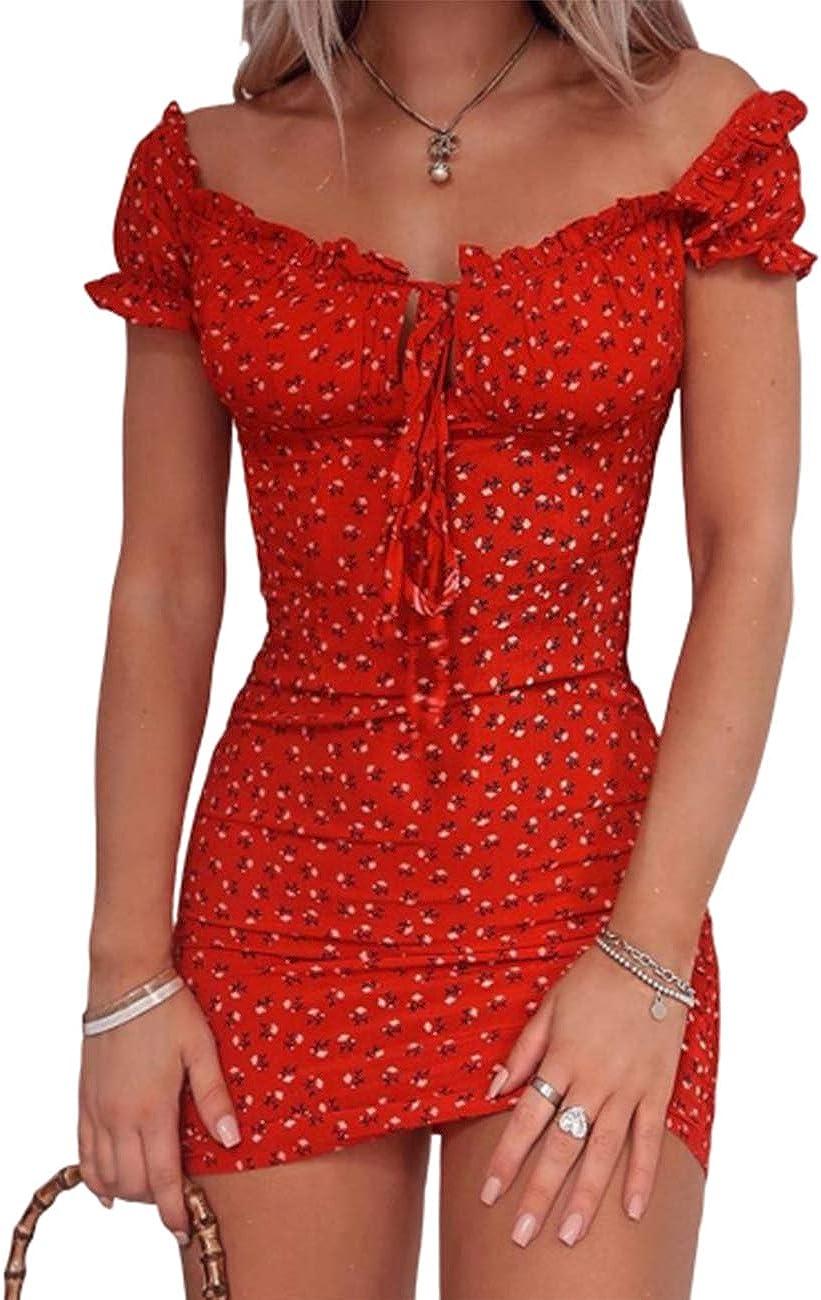 CHICME Women's Summer Mail order Cutout Tie Floral Dress Strap Thick Ruffle Superlatite