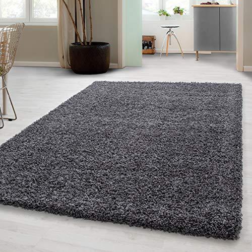 Hochflor Shaggy Teppich für Wohnzimmer Langflor Pflegeleicht Schadsstof geprüft 3 cm Florhöhe Oeko Tex Standarts Teppich, Maße:80x150 cm, Farbe:Grau