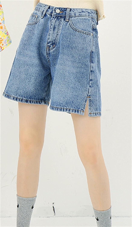 BXSM Split Denim Shorts High Waist Slim Summer Capris (Color : B, Size : Large)