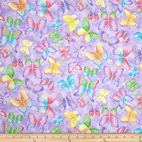 Butterflies Glitter Purple, Quilting Fabric by the Yard