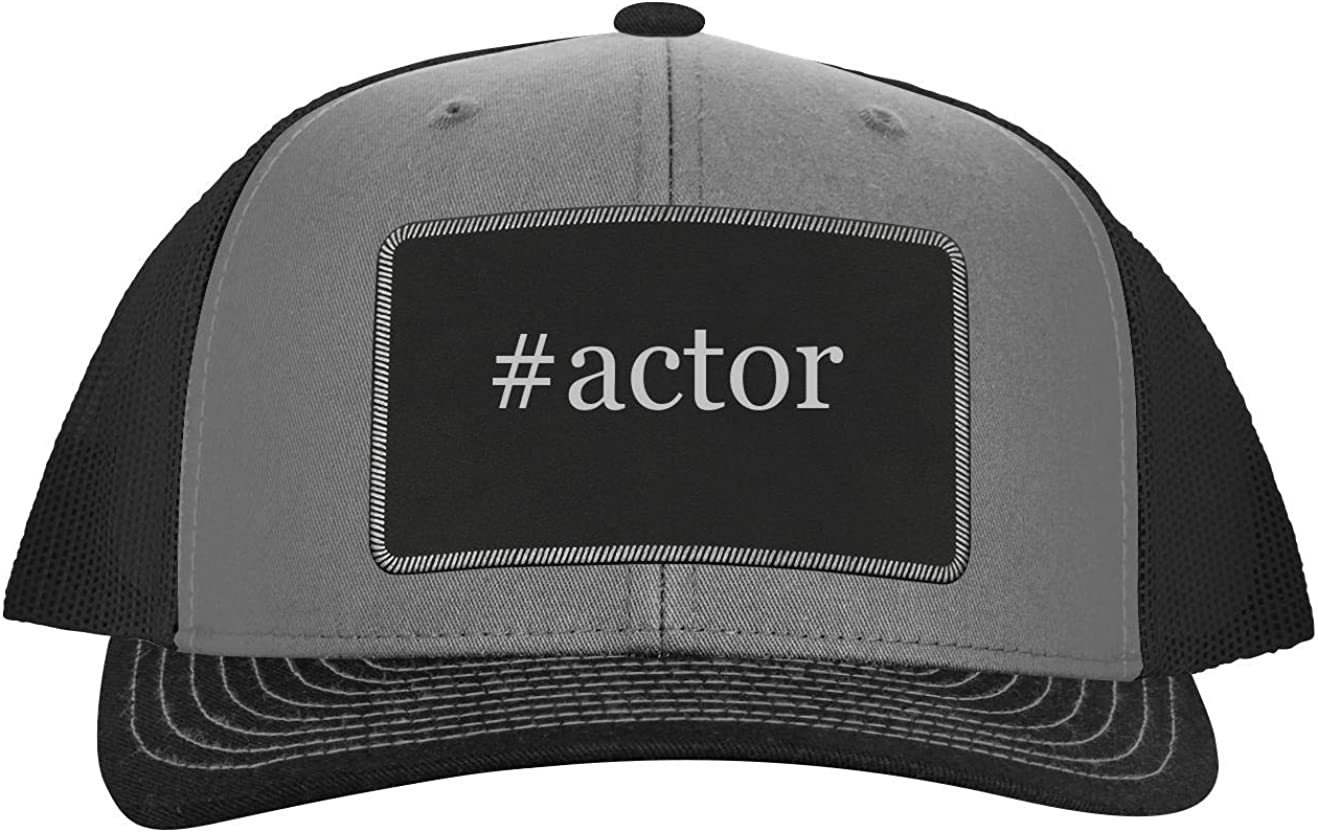 One Legging it Around #Actor - Leather Hashtag Black Patch Engraved Trucker Hat