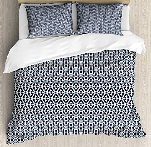 Ethnic Double Bedding Duvet Cover 3 Piece, Oriental Geometric Pattern with Floral Motif, Soft Bedding Protects with 1 Comforter Cover 2 Pillowcase, Dark Violet Blue Blue Grey Dark Mauve and White
