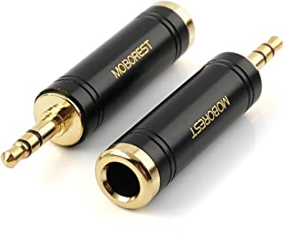 MOBOREST 3.5mm M to 6.35mm F Stereo Pure Copper Adapter, 1/8 Inch Plug Male to 1/4 Inch Jack Female Stereo Adapter, Can be Used for Conversion Headphone adapte, amp adapte, Black Fashion 2-Pack