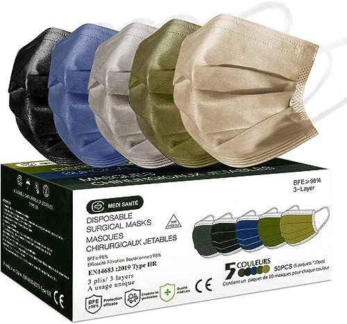MEDI SANTÉ 50 Masque Chirurgical médical Masque de Protection Masque jetable Couleur Type 2R EN14683 BFE≥98% 3 Plis (...