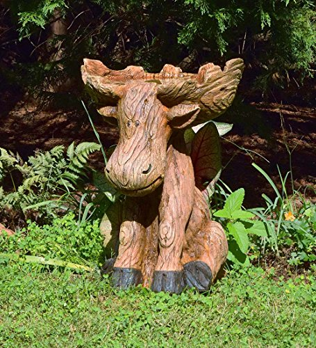 Plow & Hearth Northwoods Sitting Moose with Antlers Birdbath, Garden and Landscape Accent in Hand-Painted All-Weather Wood-Look Carved Resin, 17¼'L x 15¼'W x 22¾'H