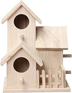 Gotd Clearance Wooden Bird Houses for Outside,Wooden Nest DOX Nest House Bird House Bird Box Wooden Box Craft DIY with Hanging (B,20.5X15.5)