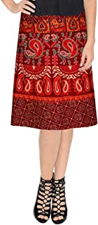 Women's Cotton Printed Knee Length Regular Wrap Around Skirt (NTMW24_0059; Maroon; Free Size)