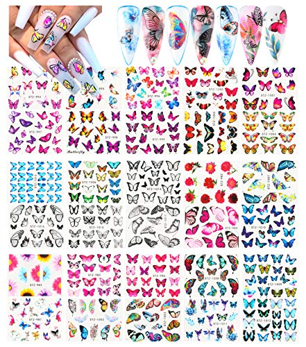 Le Fu Li 30 Sheets Butterfly Nail Art Stickers Nail Art Water Transfer Sticker with Butterfly Flower Patterns Manicure Tips,Nail Tips DIY Toenails Nail Art Decorations Accessories Decals