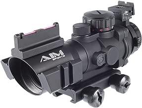 Evike AIM Airsoft Dual-Rail 4X32 Illuminated Compact Scope w/Fiber Optics Sight Rapid Ranging Reticle - (36005)