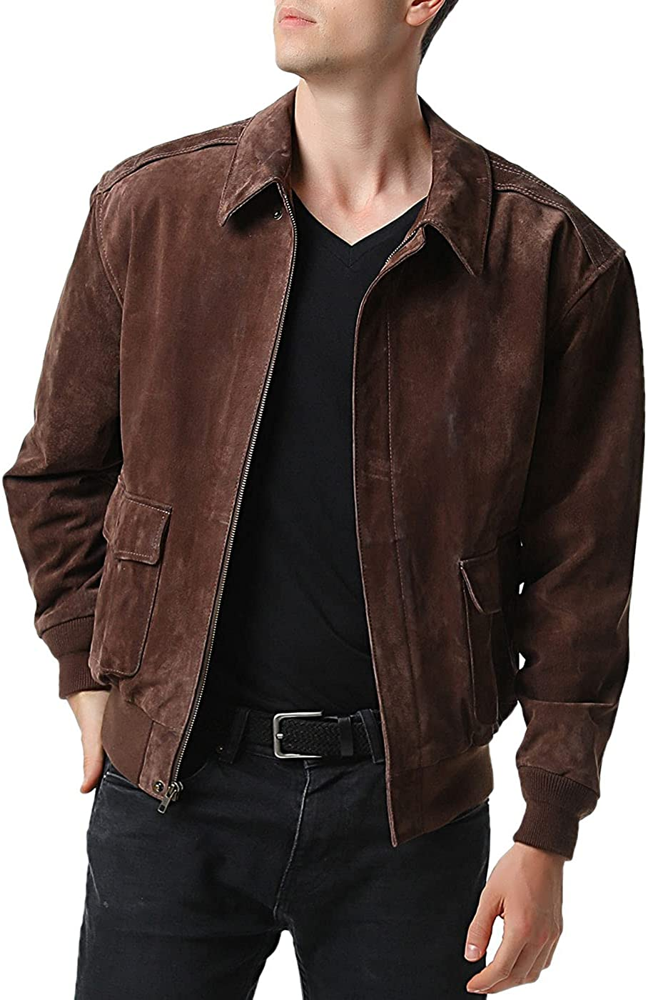 Landing Leathers Men Air Force A-2 Leather Flight Bomber Jacket (Regular and Big & Tall)