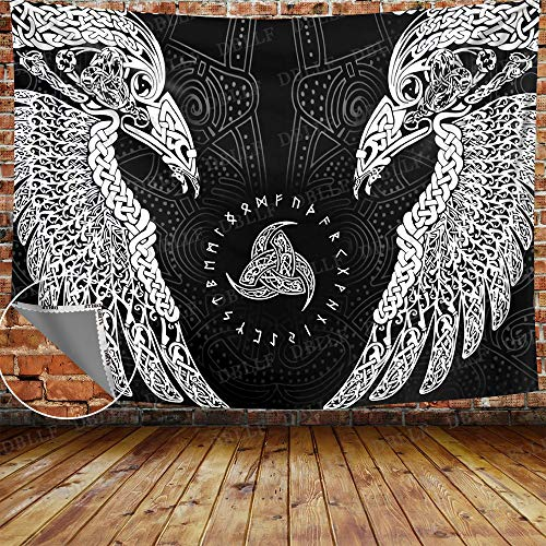 DBLLF The Twin Ravens in Norse Mythology Viking Wall Hanging Tapestries Wall Tapestry Indian Boho Mandala Tapestry Large Size 80'x60' Flannel Art Tapestries for Living Room Bedroom Dorm GTYYDB523