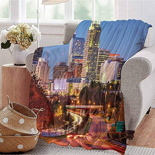 Luoiaax United States Comfortable Large Blanket Raleigh North Carolina USA Express Way Business District Building Skyscrapers Microfiber Blanket Bed Sofa or Travel W70 x L84 Inch Multicolor