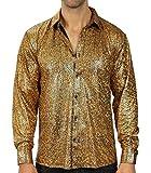 WULFUL Men Dress Shirt Sequins Long Sleeve Button Down Shirt Luxury Disco Party Nightclub Christmas Prom Costume