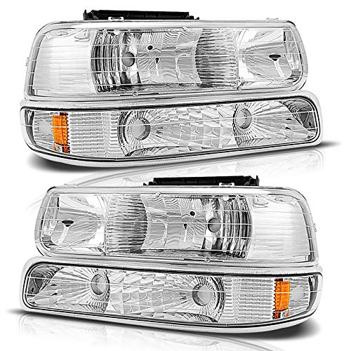Torchbeam Headlight Assembly for 1999-2002 Silverado Compatible with 2000-06 Suburban / 2000-06 Tahoe, Chrome Housing Amber Reflector Clear Headlights Driver and Passenger Side