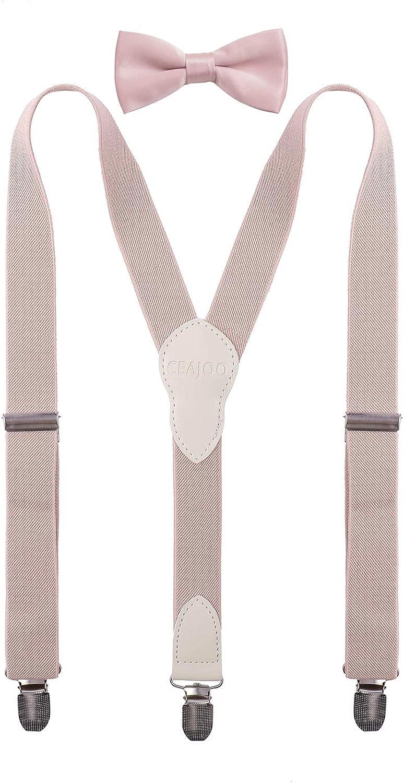 CEAJOO Boy's Suspenders and Bow Tie Set Adjustable