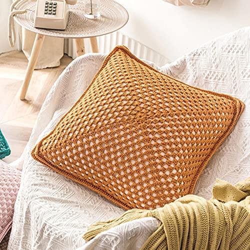 ZHONGCC 2PCS Funda de cojín Hecha a Mano 42x42cm Crochet Vintage Solid Yellow Pink Green Cream Funda de Almohada para decoración del hogar-Amarillo, erter