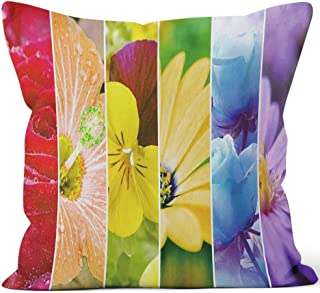 Rainbow Stripes Flowers Wallpaper Large XXXL Image Burlap Pillow Home Decor Throw Pillow Cover,HD Printing Cotton Linen Cushion for Couch Sofa Bedroom Livingroom Kitchen Car,36